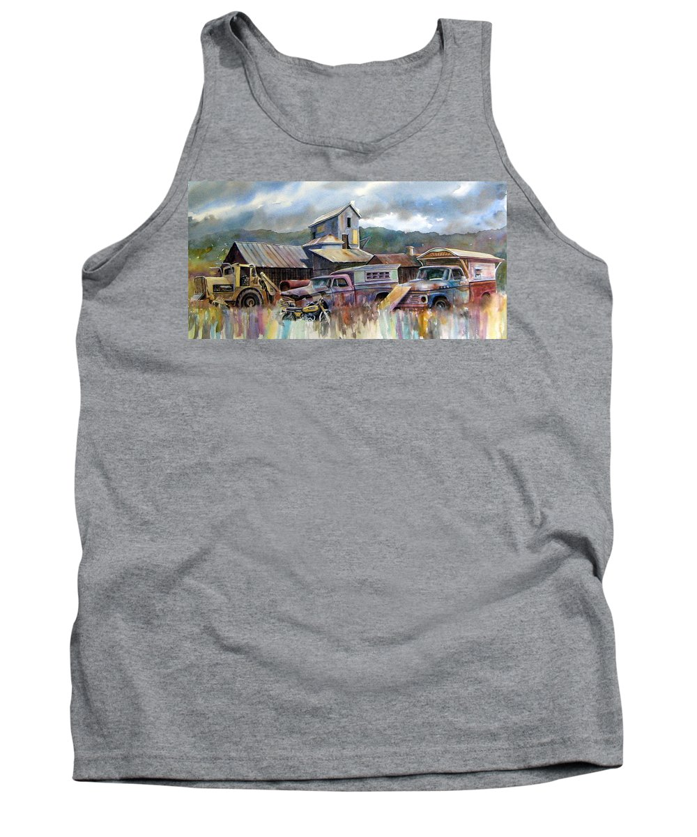 Trucks Tank Top featuring the painting Industrial Recreation Park by Ron Morrison