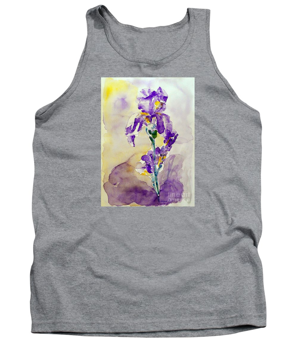 Flower Tank Top featuring the painting Iris 2 by Jasna Dragun