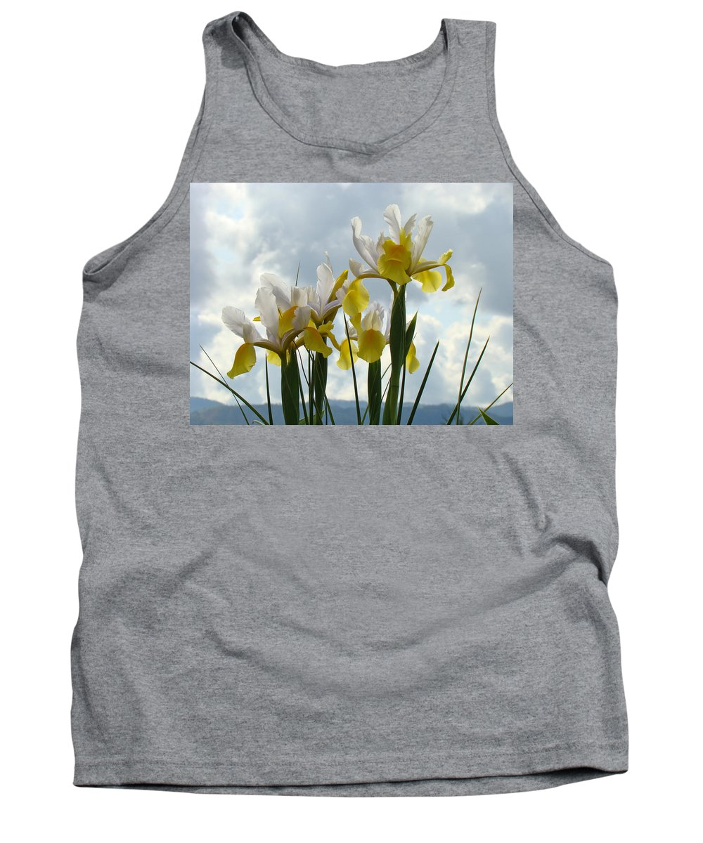 �irises Artwork� Tank Top featuring the photograph Irises Yellow White Iris Flowers Storm Clouds Sky Art Prints Baslee Troutman by Baslee Troutman