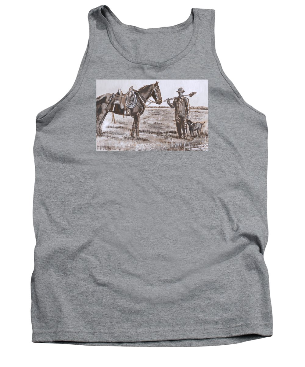 Historical Tank Top featuring the painting Irrigating The Hay Meadows Historical Vignette by Dawn Senior-Trask