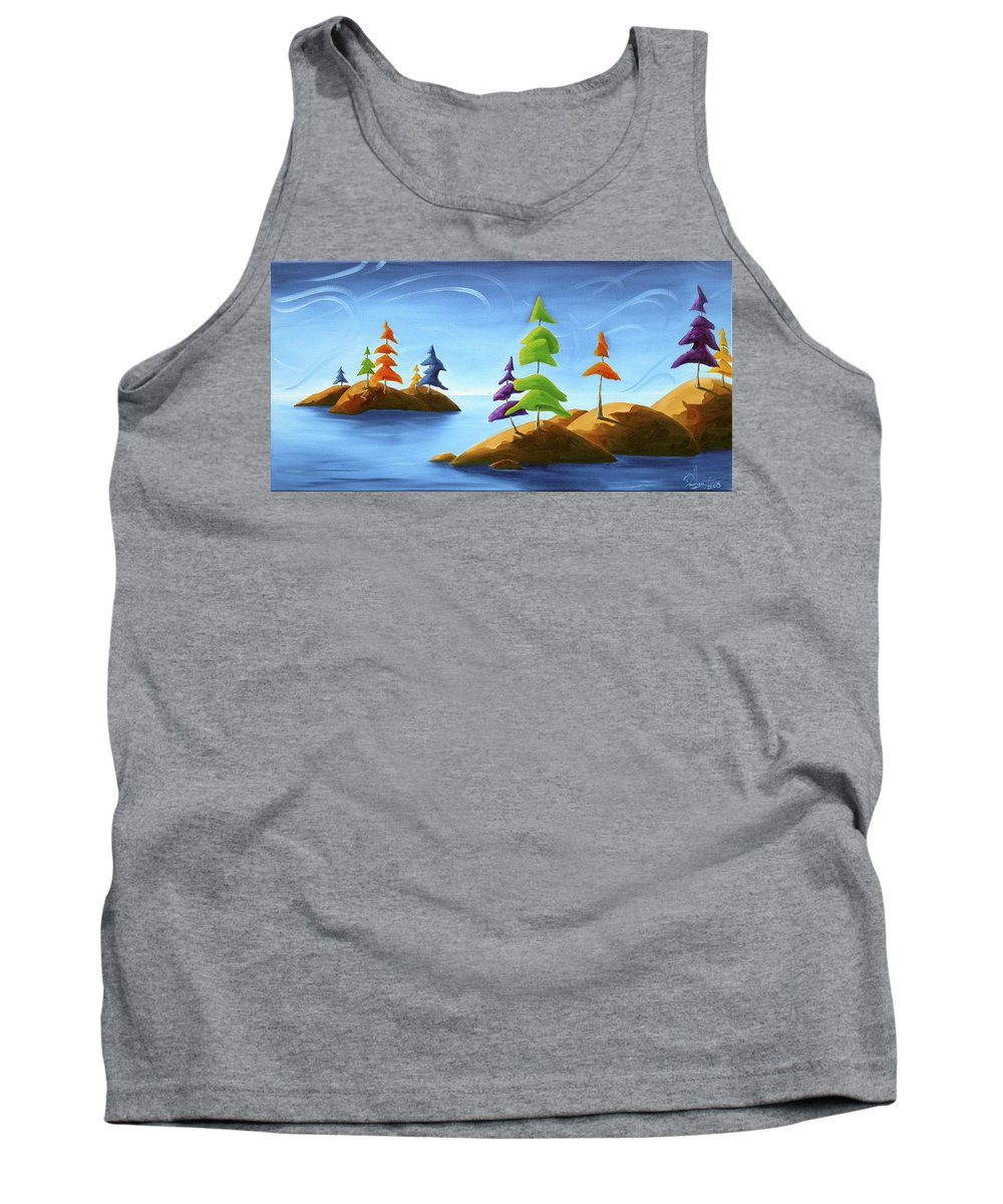 Landscape Tank Top featuring the painting Island Carnival by Richard Hoedl