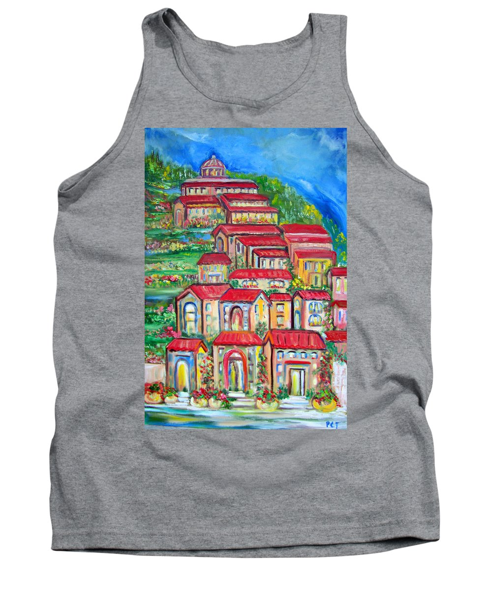 Tuscan Village Tank Top featuring the painting Italian Village On A Hill by Patricia Taylor