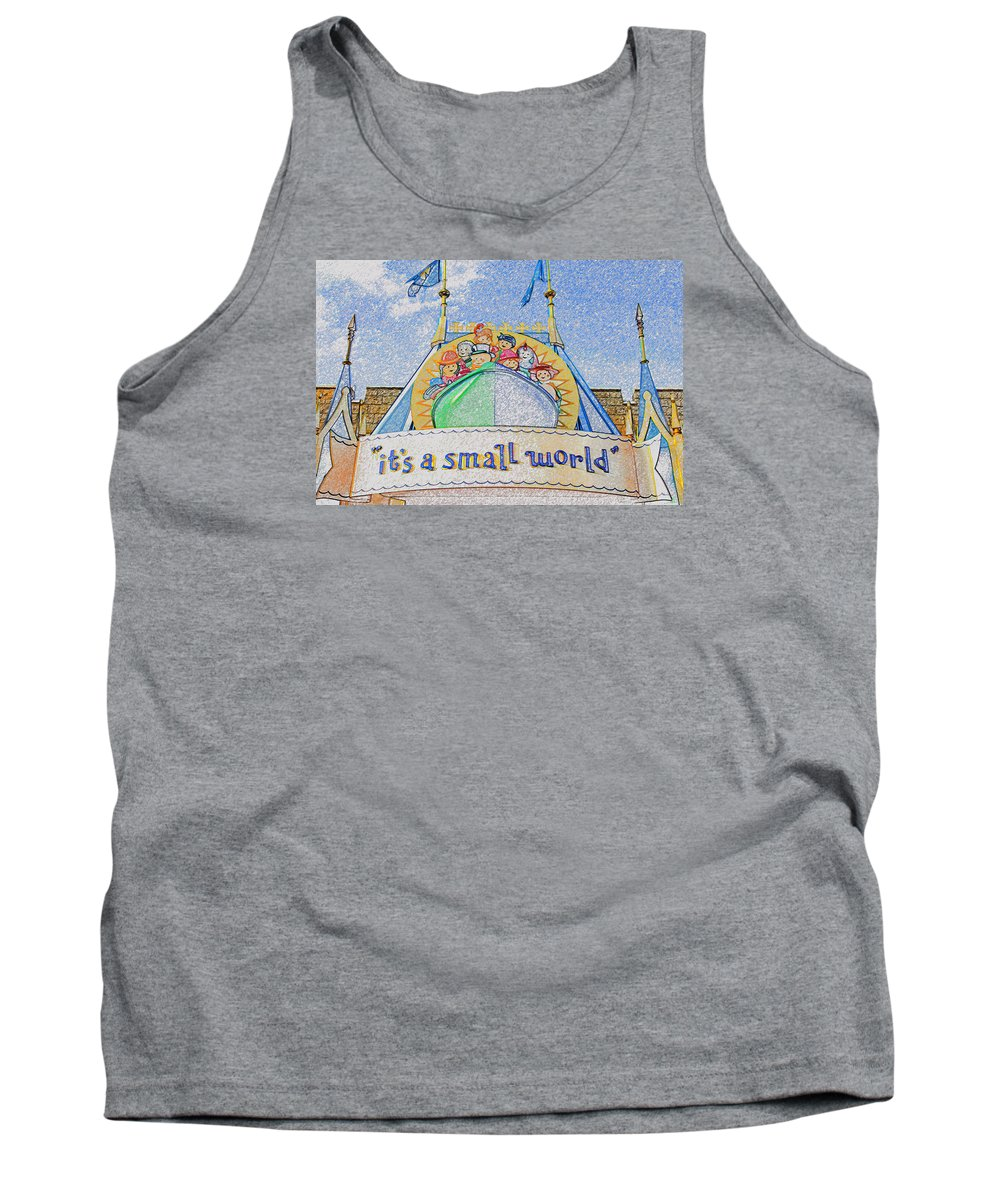 It's A Small World Ride Tank Top featuring the painting It's A Small World Entrance Original Work by David Lee Thompson