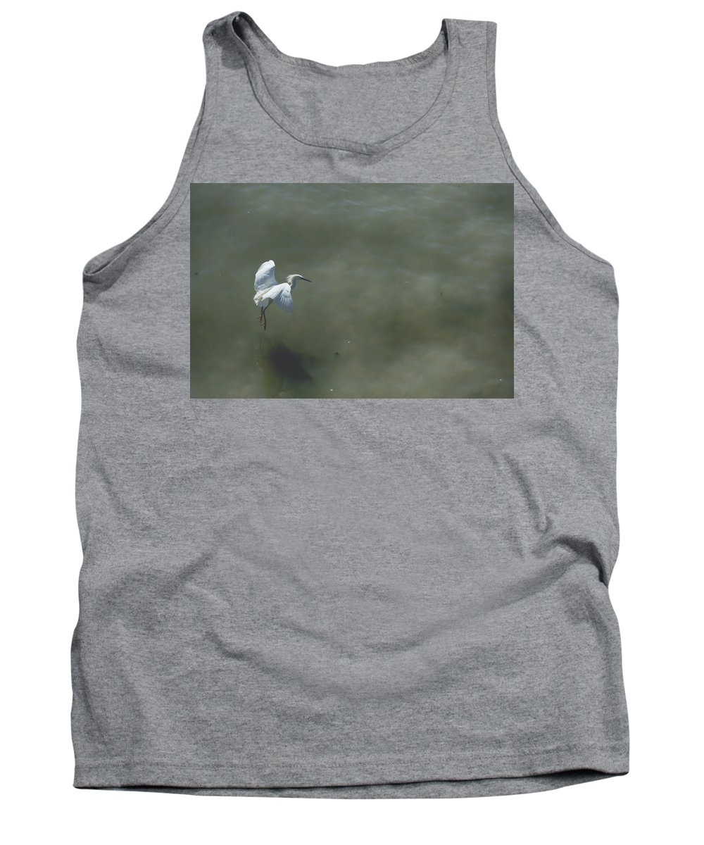Snowy Egrets Tank Top featuring the photograph It's All In The Takeoff by Laurie Search