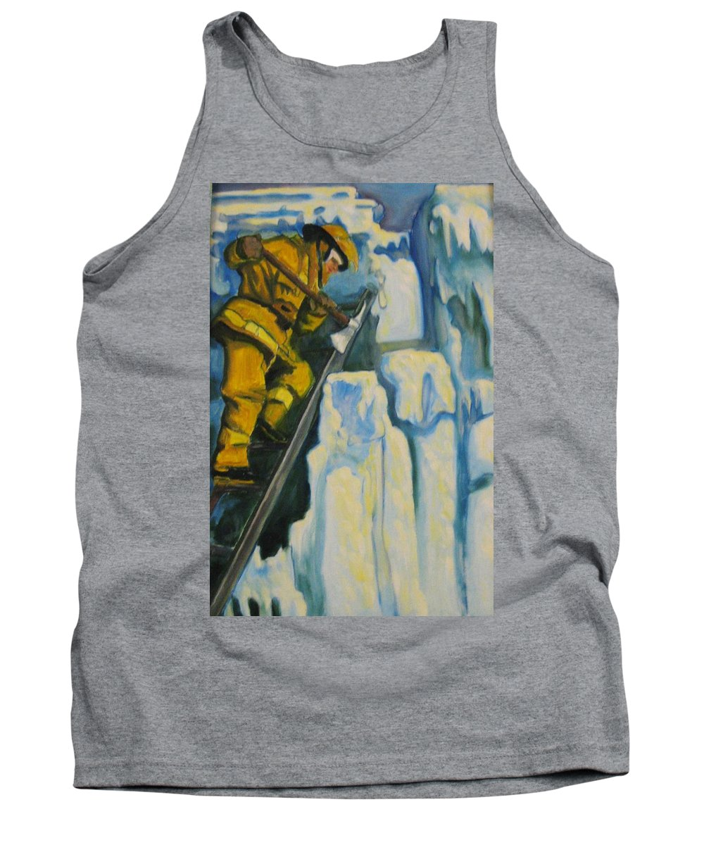 Firefighters Tank Top featuring the painting Its Not Over Till Its Over by John Malone