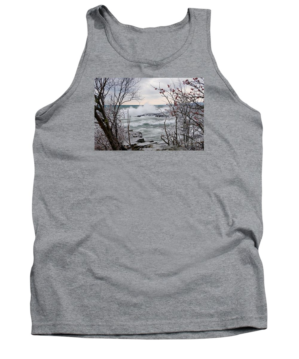 Waves Tank Top featuring the photograph January Winds And Waves by Sandra Updyke
