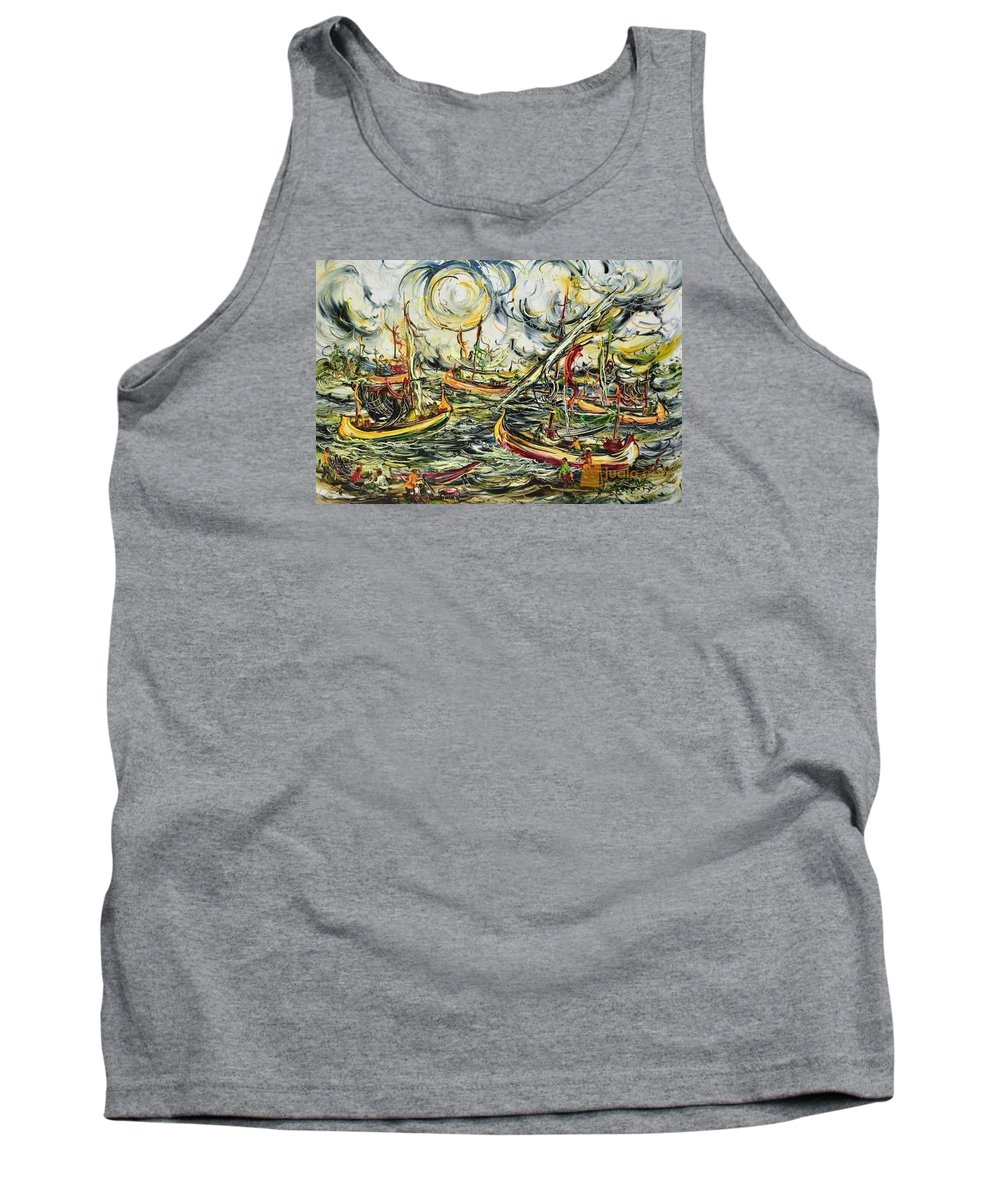 Expressionist Painting Tank Top featuring the painting Javanese Boat by Men Sagan