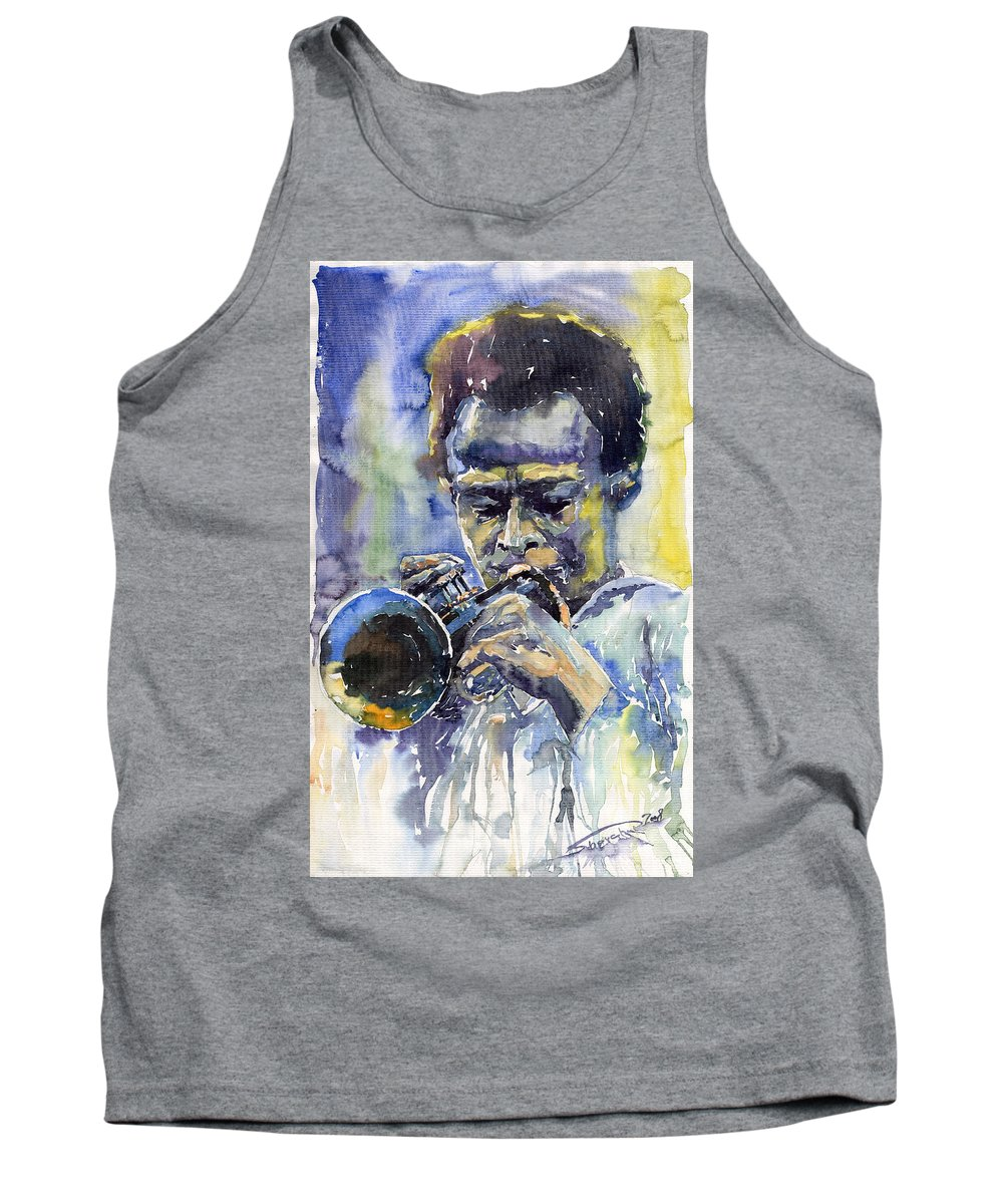 Jazz Tank Top featuring the painting Jazz Miles Davis 12 by Yuriy Shevchuk