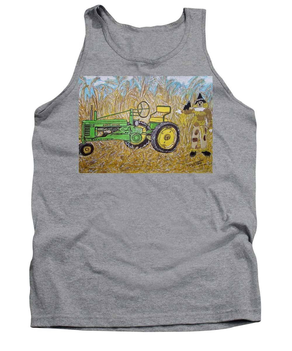 John Deere Tank Top featuring the painting John Deere Tractor And The Scarecrow by Kathy Marrs Chandler