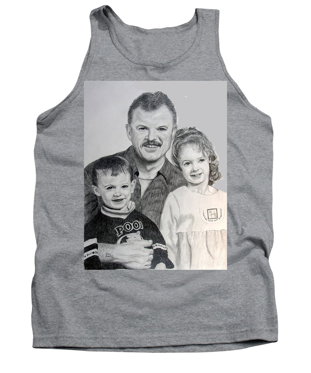 Portrait Tank Top featuring the drawing John Megan And Joey by Stan Hamilton