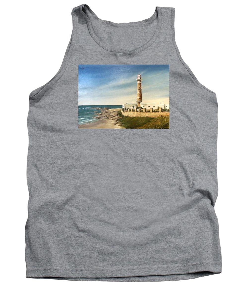 Landscape Seascape Lighthouse Uruguay Beach Sea Water Tank Top featuring the painting Jose Ignacio Lighthouse Evening by Natalia Tejera