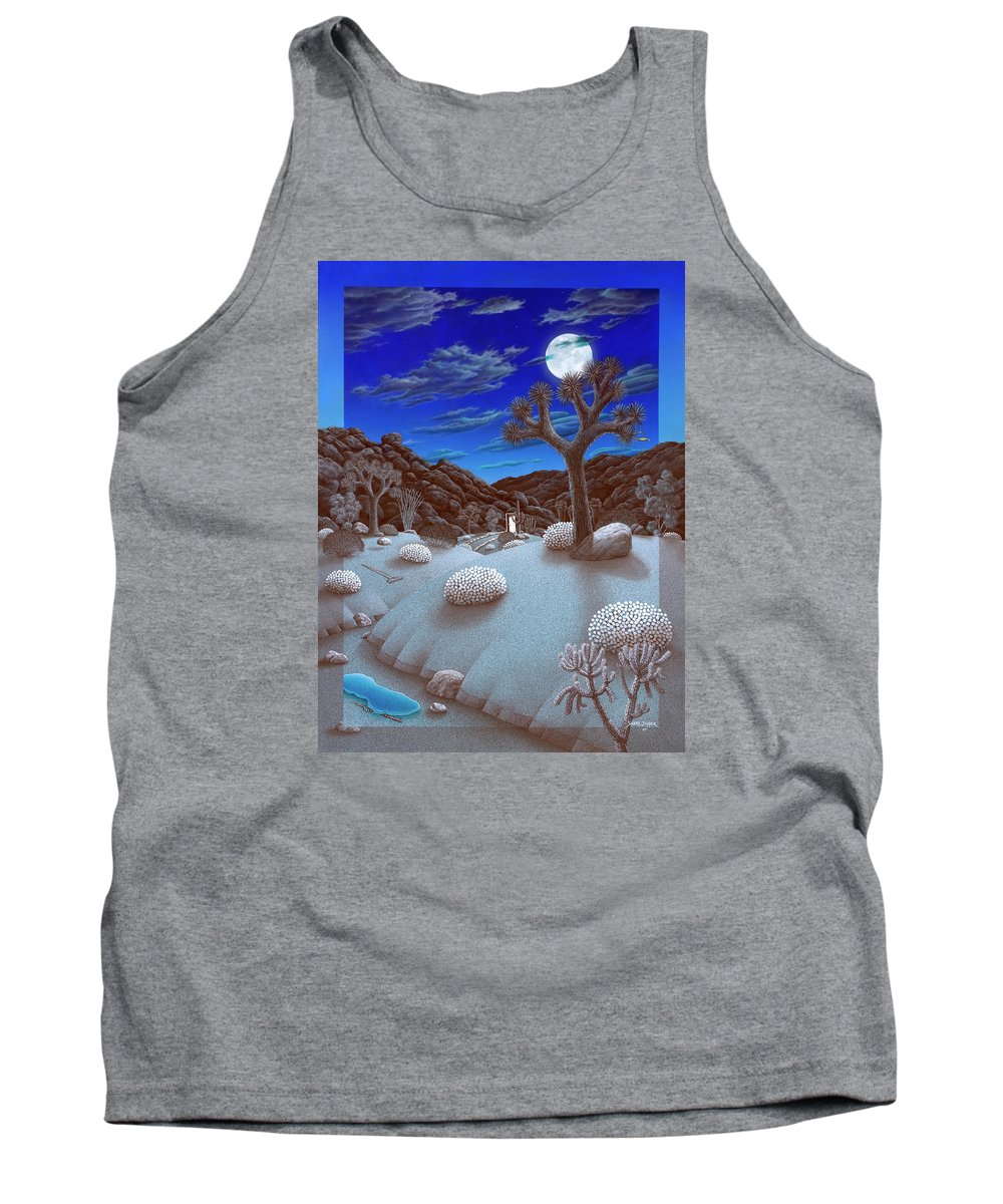 Landscape Tank Top featuring the painting Joshua Tree At Night by Snake Jagger