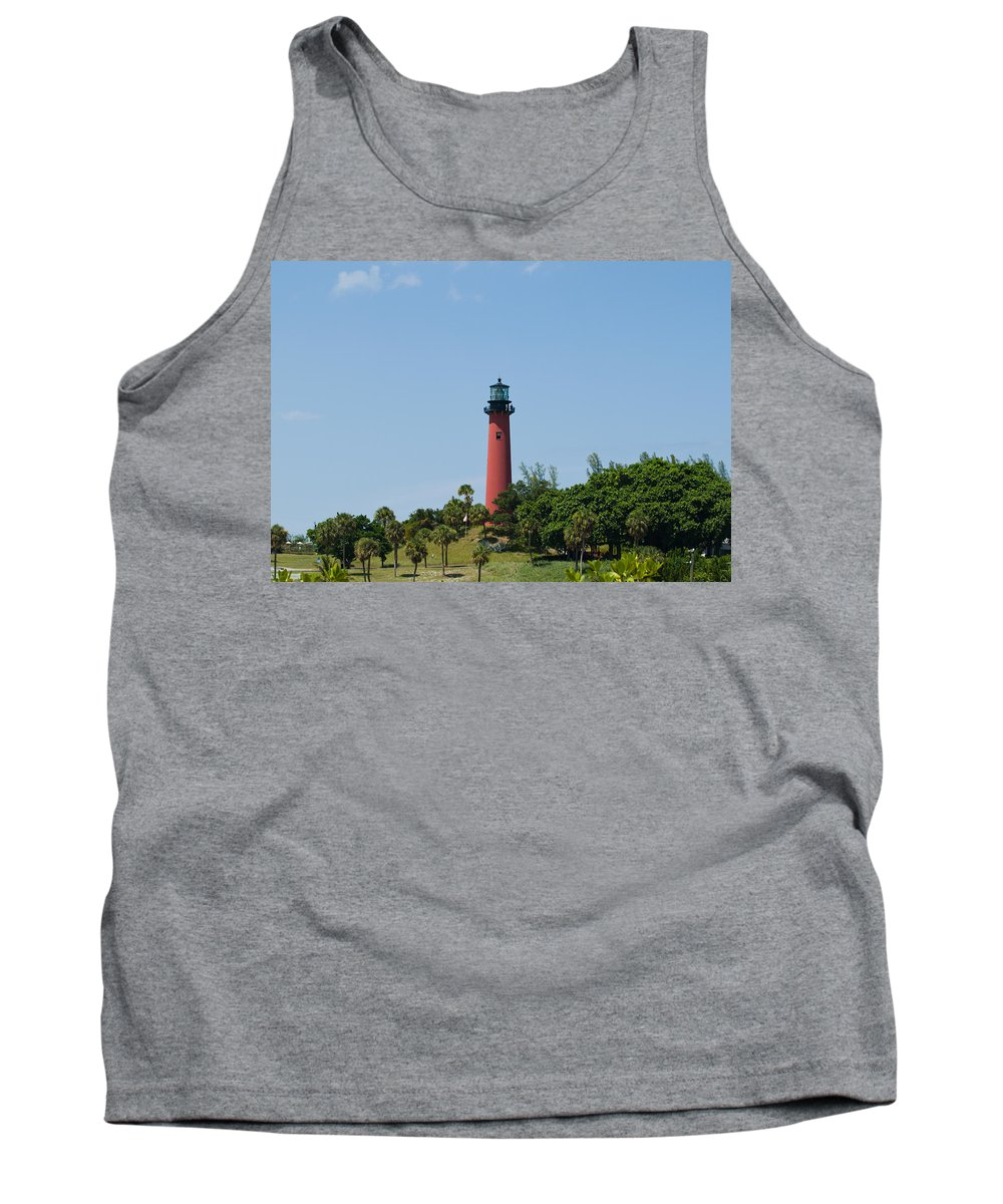 Florida; Juptier; Inlet; Loxahatchee; River; Atlantic; Coast; Shore; Beach; Light; Lighthouse; Beaco Tank Top featuring the photograph Jupiter Florida by Allan Hughes