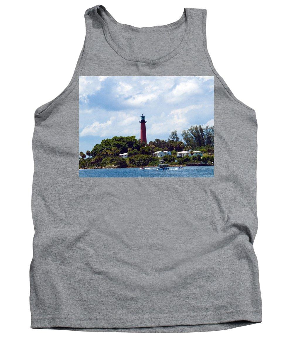 Florida; Juptier; Inlet; Loxahatchee; River; Atlantic; Coast; Shore; Beach; Light; Lighthouse; Beaco Tank Top featuring the photograph Jupiter Inlet Florida by Allan Hughes