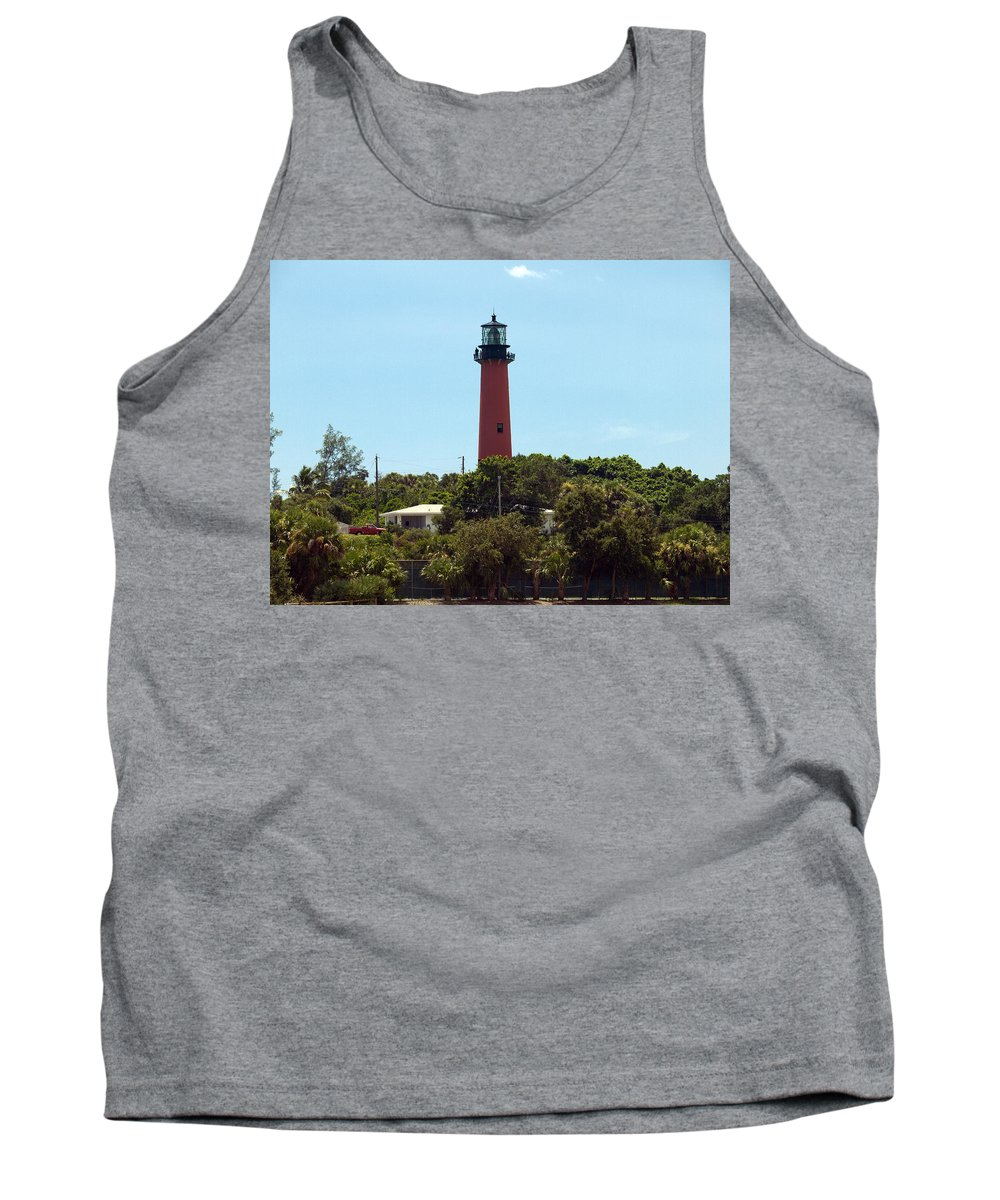 Florida; Juptier; Inlet; Loxahatchee; River; Atlantic; Coast; Shore; Beach; Light; Lighthouse; Beaco Tank Top featuring the photograph Jupiter Inlet Light by Allan Hughes