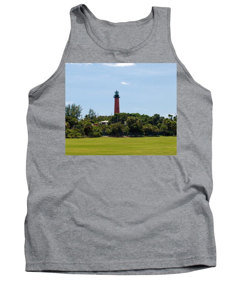 Florida; Juptier; Inlet; Loxahatchee; River; Atlantic; Coast; Shore; Beach; Light; Lighthouse; Beaco Tank Top featuring the photograph Jupiter Inlet Lighthouse by Allan Hughes