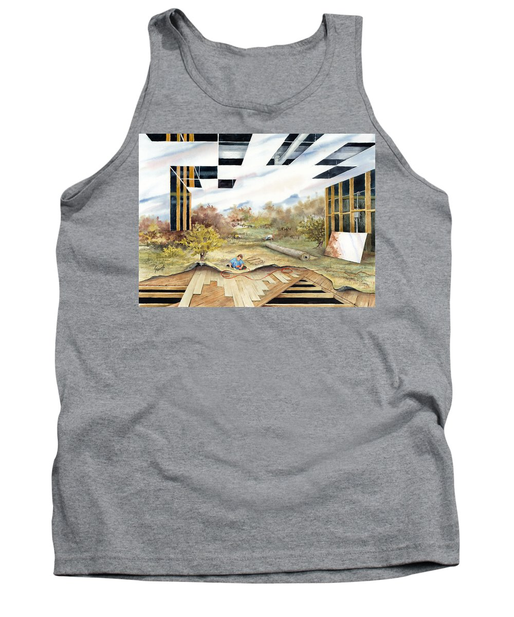 Landscape Tank Top featuring the painting Just Another Unfinished Landscape Painting by Sam Sidders