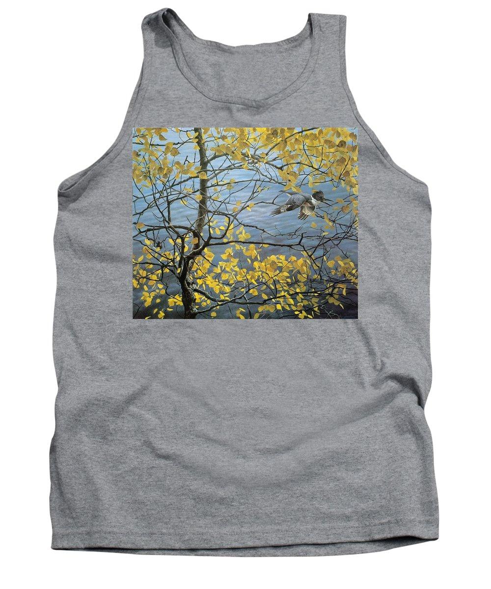 Tree Tank Top featuring the digital art Kb Bateman Aspen And Kingfisher Robert Bateman by Eloisa Mannion