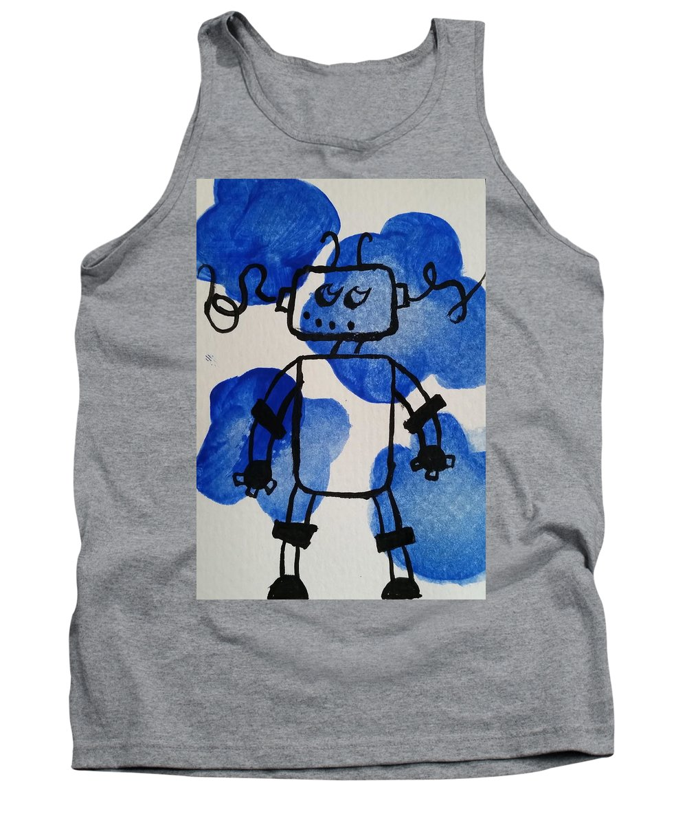 Blue Tank Top featuring the painting Keep Your Head Out Of The Sky by Kelly Brimberry