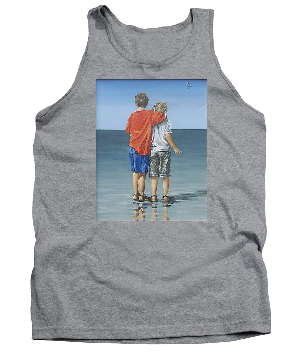 Kids Tank Top featuring the painting Kids by Natalia Tejera