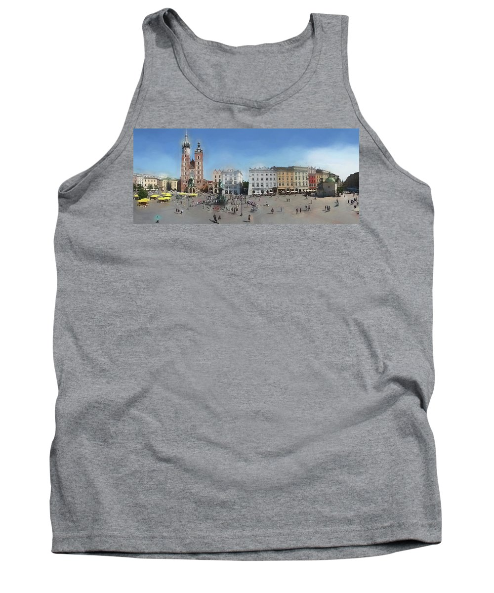 Panorama Tank Top featuring the photograph Krakow, Town Square by Aleksander Rotner