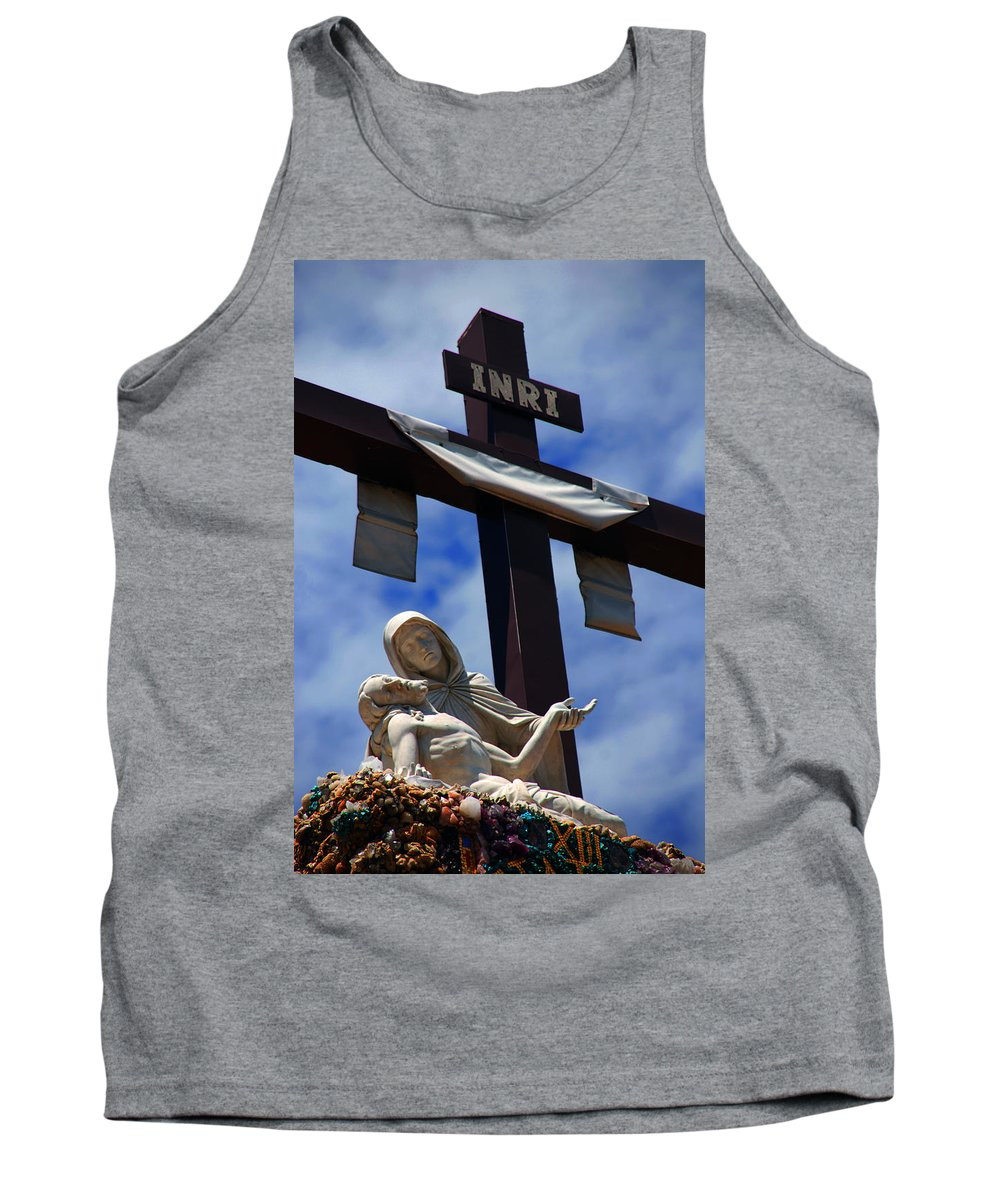 Mother Mary Tank Top featuring the photograph La Pieta by Susanne Van Hulst