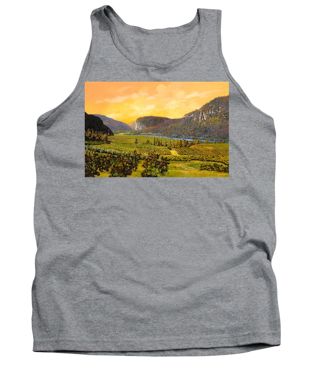 Wine Tank Top featuring the painting La Vigna Sul Fiume by Guido Borelli