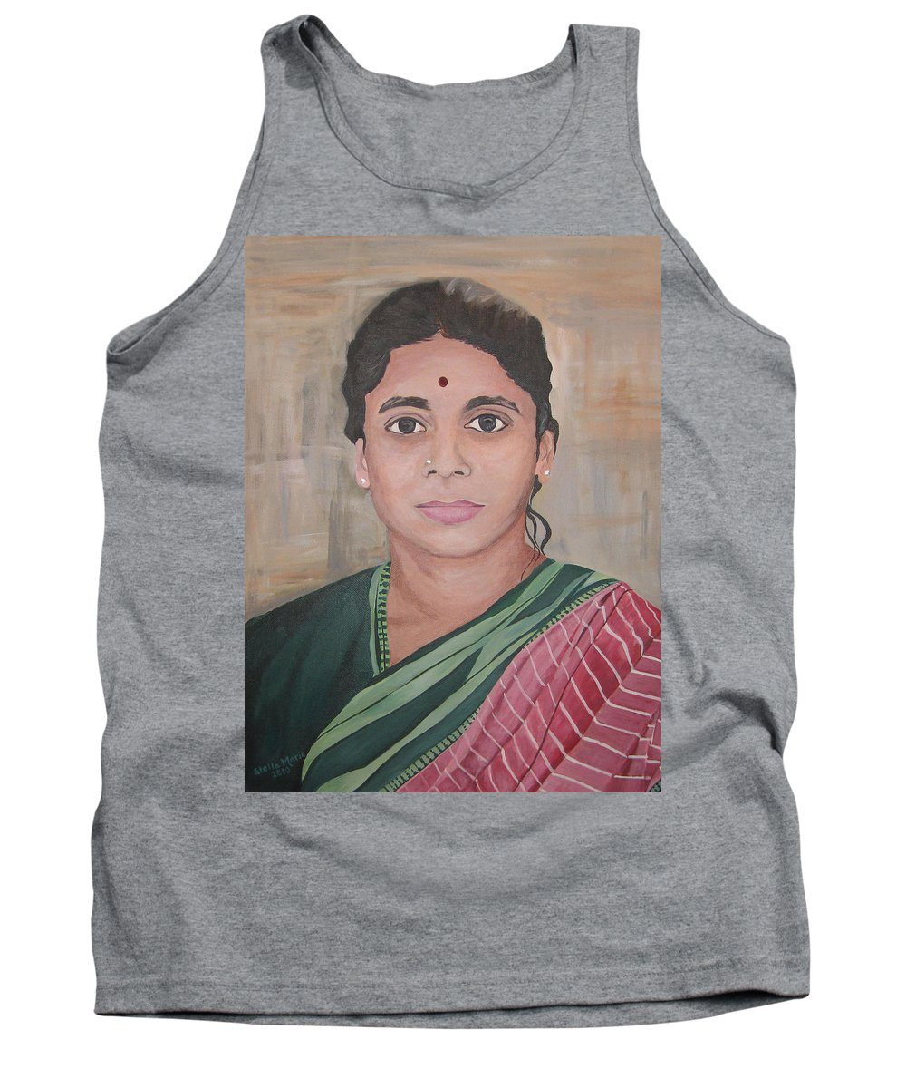 Portrait Of Lady From India Tank Top featuring the painting Lady From India by Stella Sherman