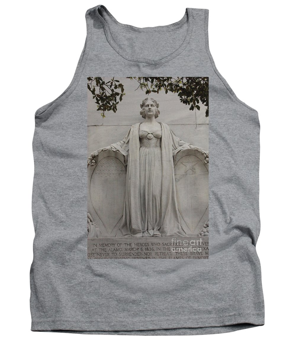Alamo Tank Top featuring the photograph Lady Liberty On Alamo Monument by Carol Groenen