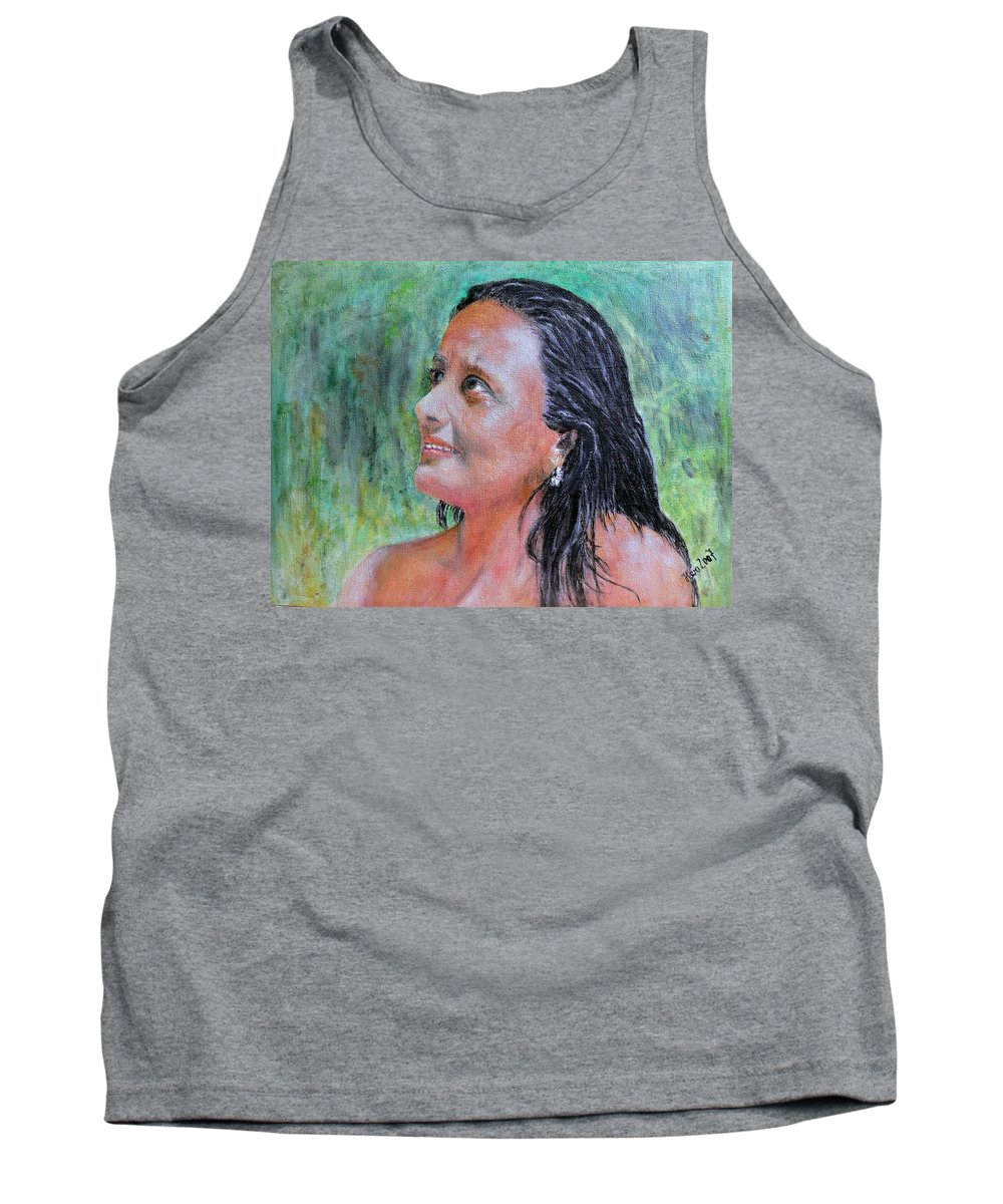 Lady Tank Top featuring the painting Lady Of India by Helmut Rottler