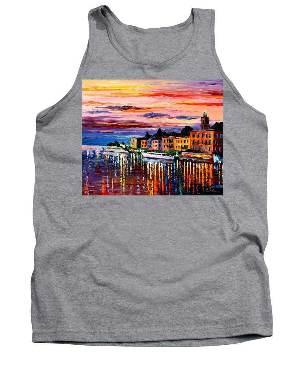 Cityscape Tank Top featuring the painting Lake Como - Bellagio by Leonid Afremov