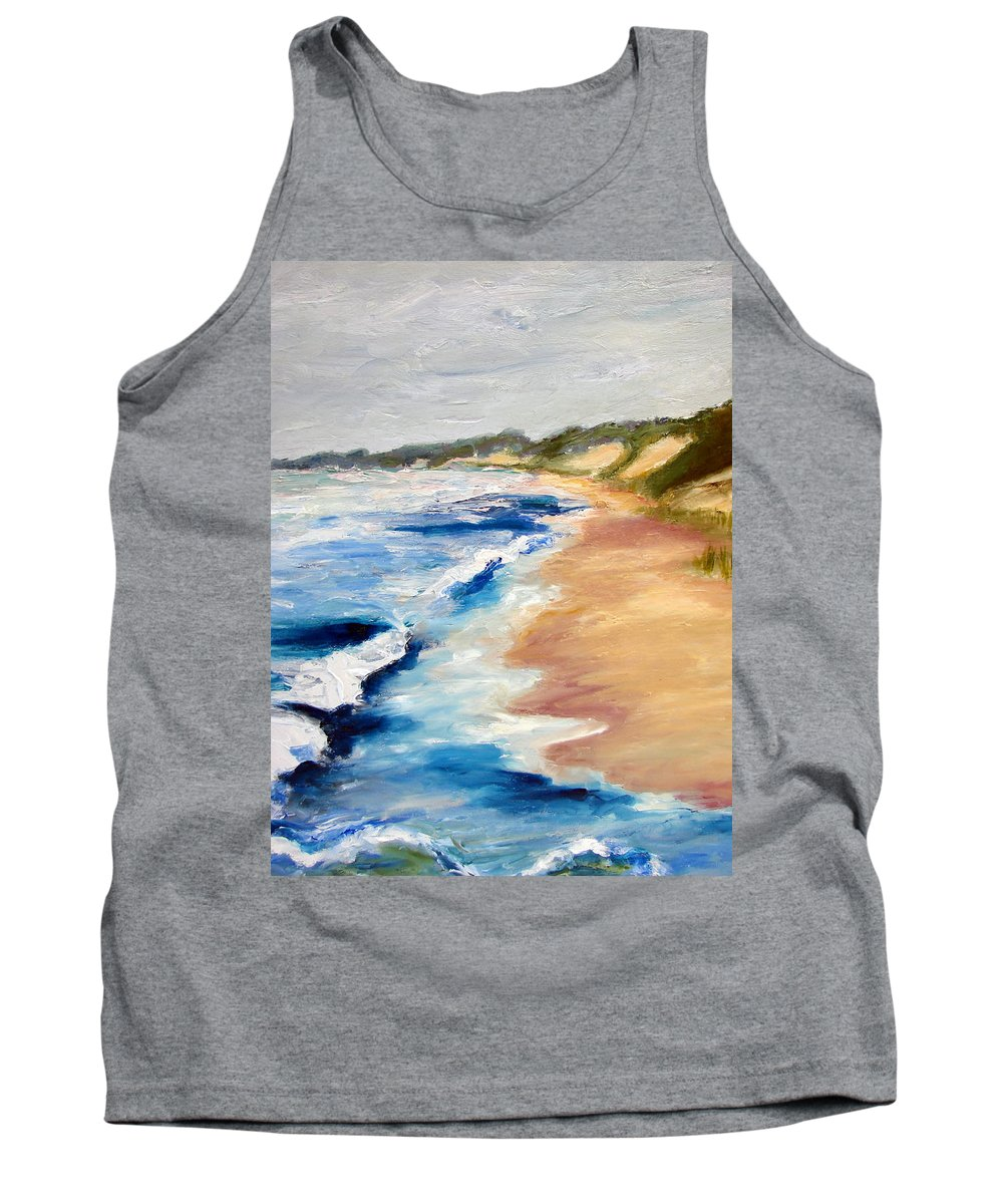 Whitecaps Tank Top featuring the painting Lake Michigan Beach With Whitecaps Detail by Michelle Calkins