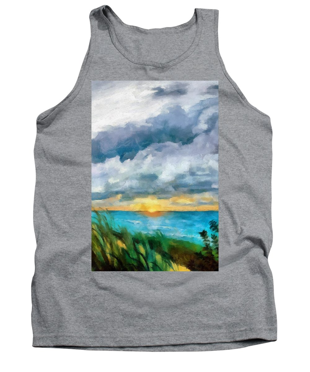 Golden Tank Top featuring the painting Lake Michigan Sunset by Michelle Calkins
