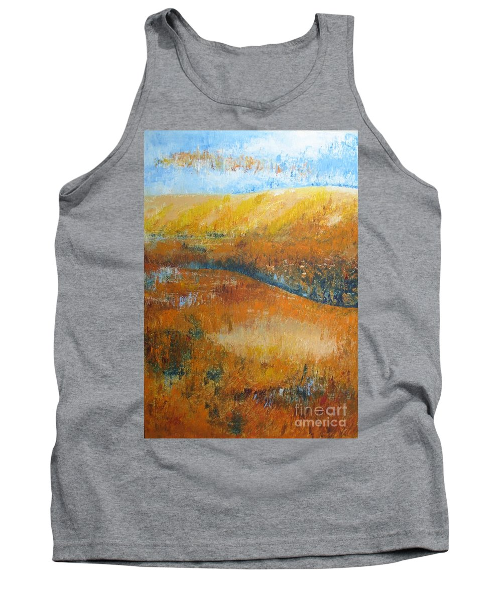 Landscape Tank Top featuring the painting Land Of Richness by Stella Velka