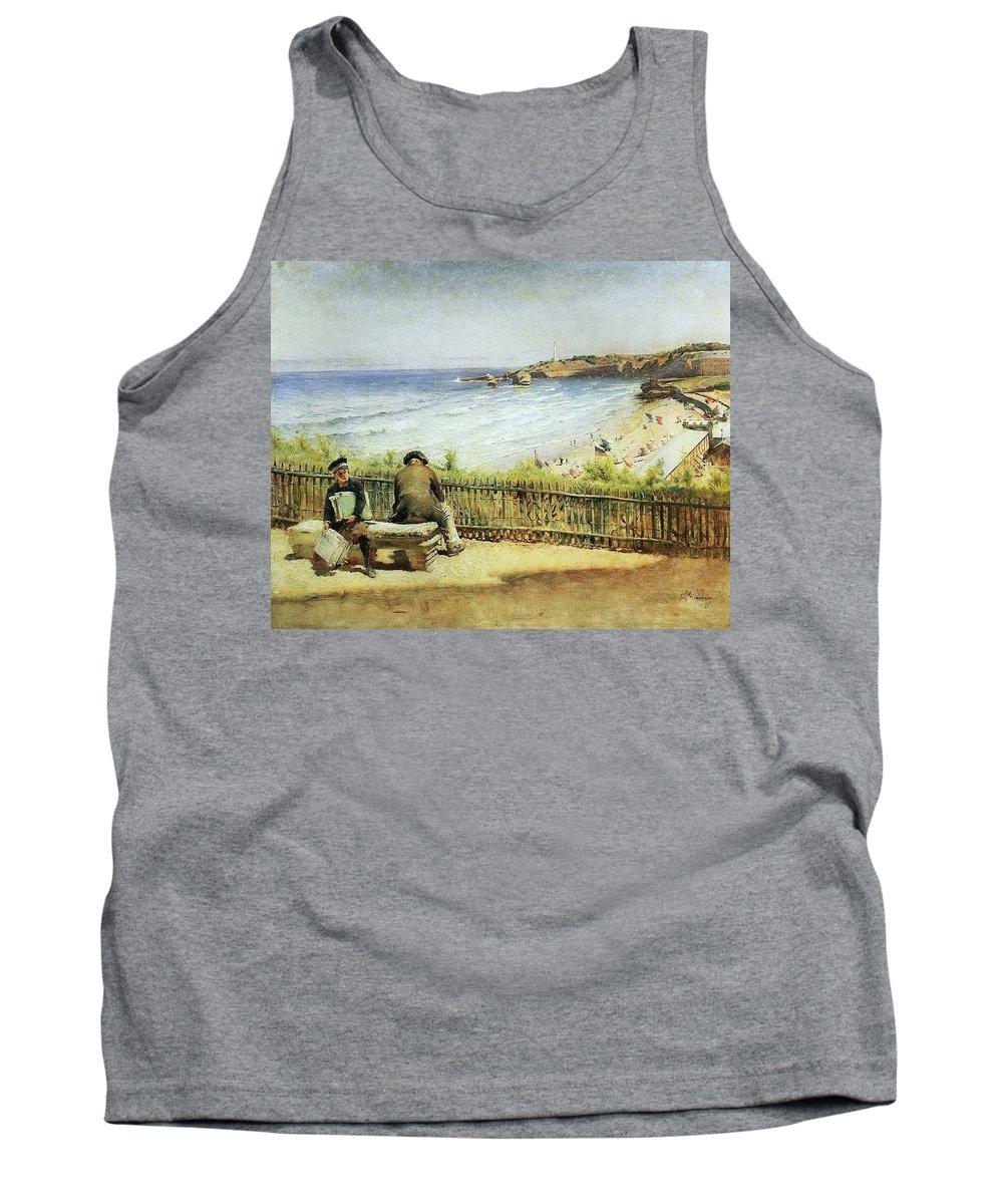 Beach Tank Top featuring the digital art Landscape 02 Konstantin Makovsky by Eloisa Mannion