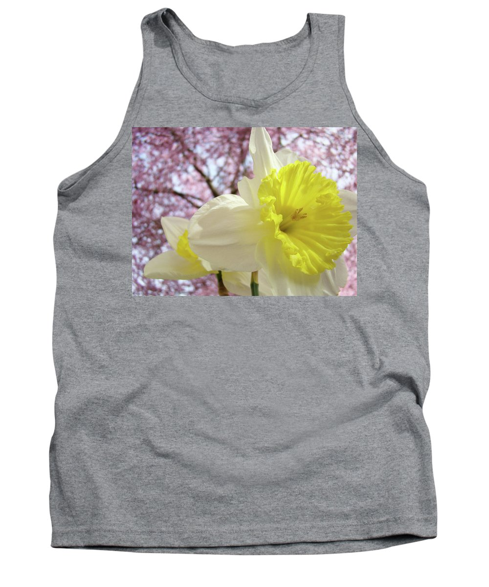 Trees Tank Top featuring the photograph Landscape Daffodils Flowers Art Pink Tree Blossoms Spring Baslee by Baslee Troutman