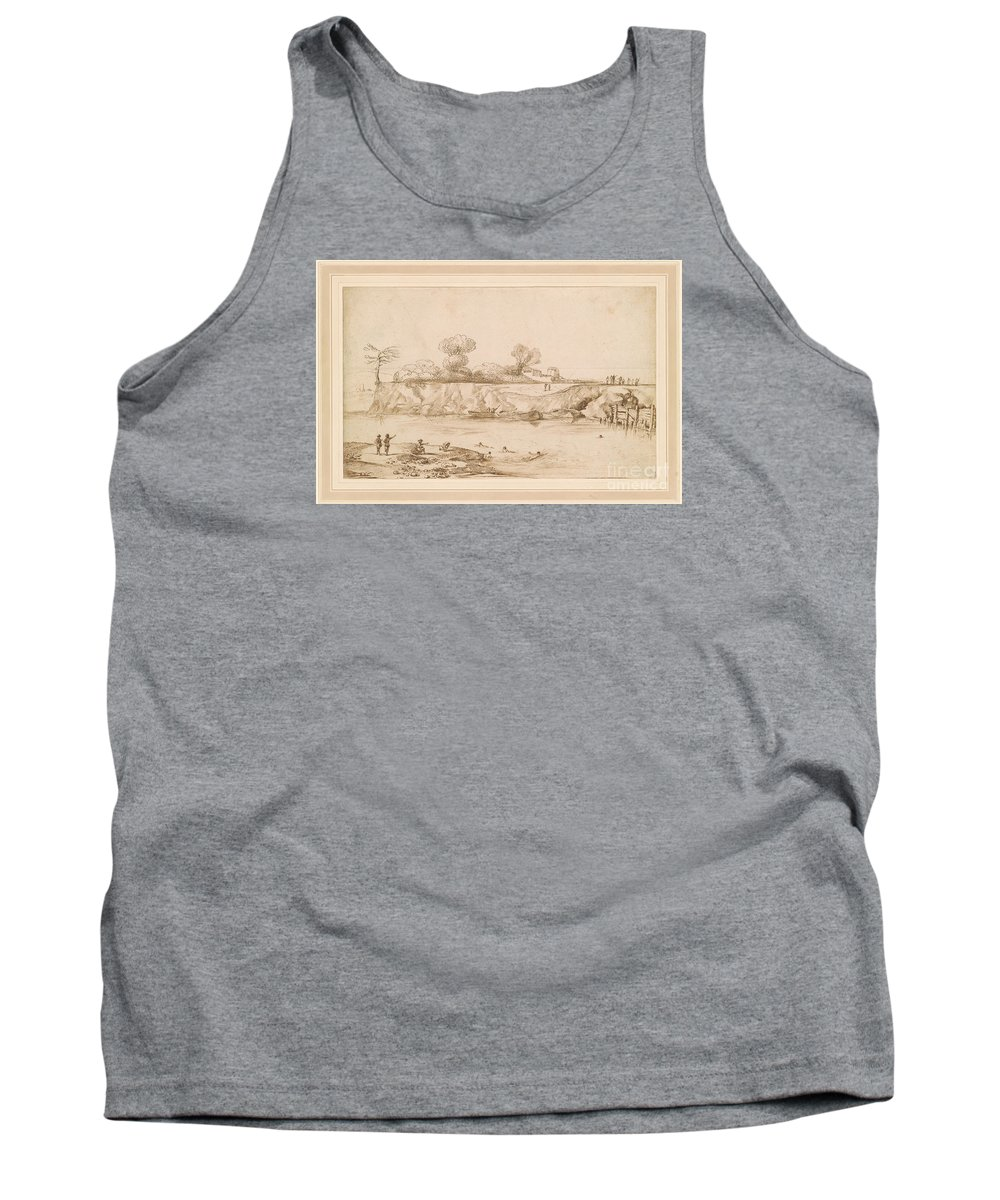 Giovanni Francesco Barbieri Tank Top featuring the painting Landscape River With Bathers by MotionAge Designs