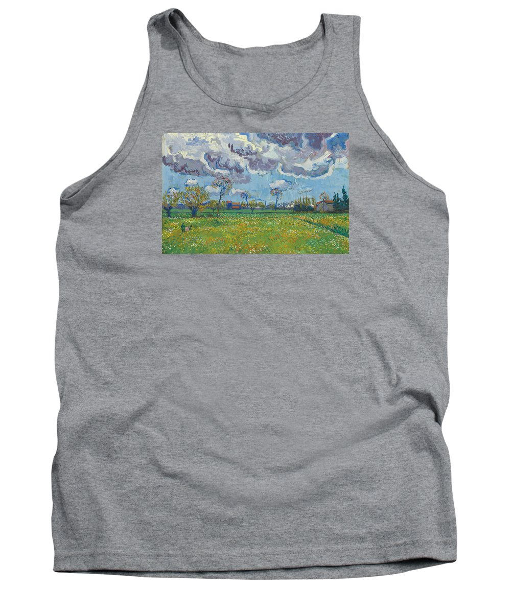 Vincent Van Gogh Tank Top featuring the painting Landscape Under A Turbulent Sky by Vincent van Gogh