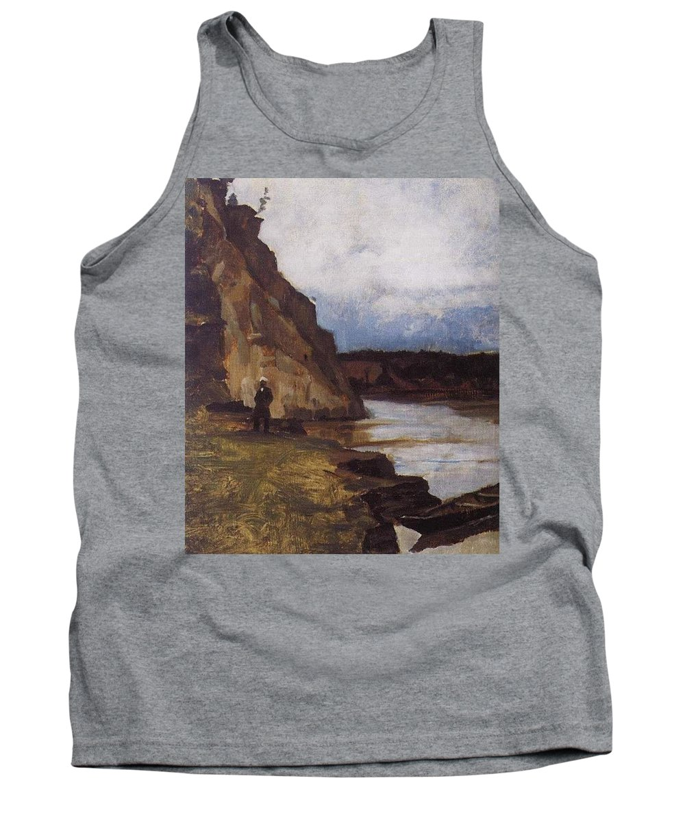 Cliff Tank Top featuring the digital art Landscape With A Figure Of His Brother Vasily Ivanovich Surikov by Eloisa Mannion
