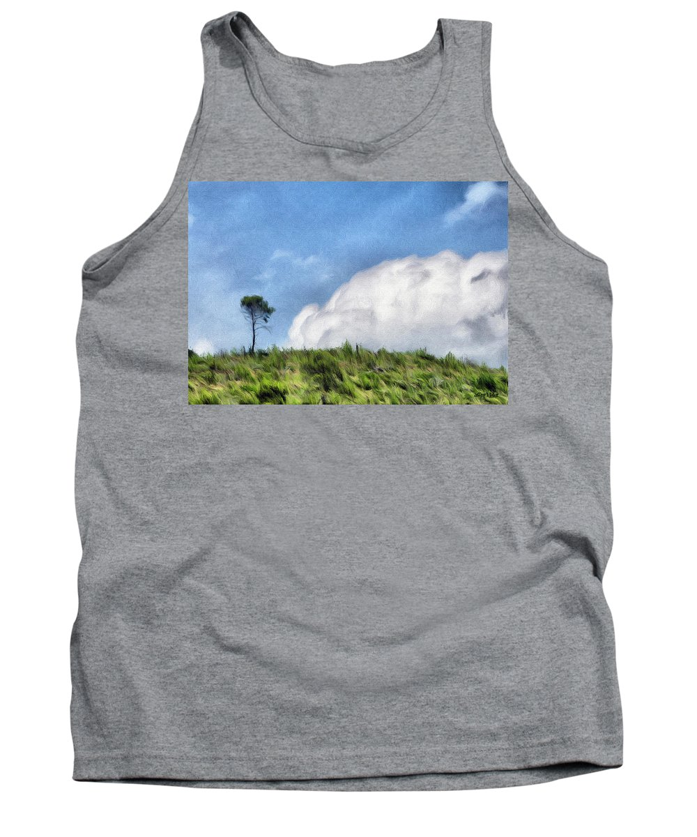 French Tank Top featuring the painting Last One Standing by Jeffrey Kolker