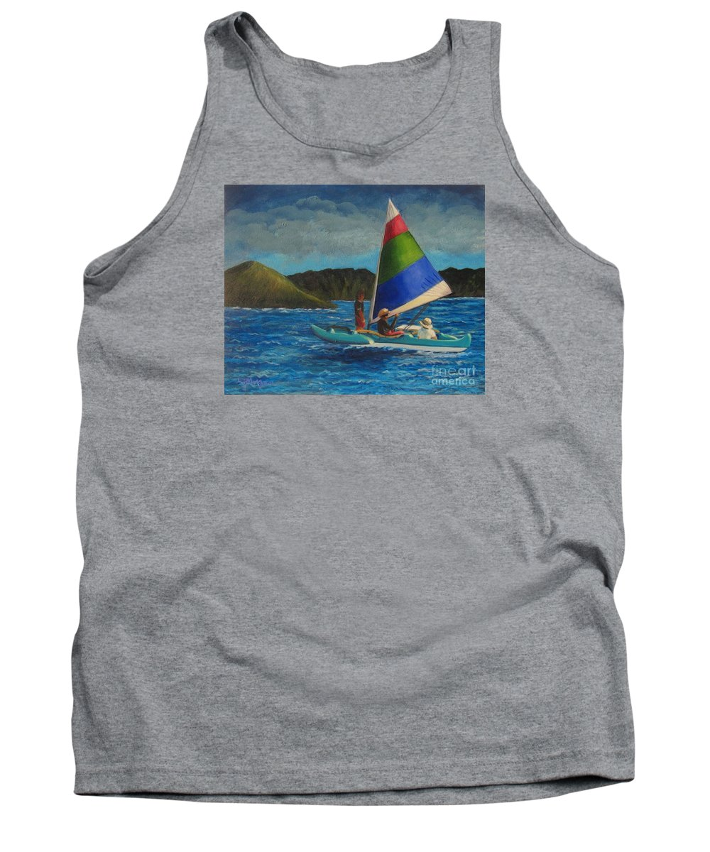 Sailboats Tank Top featuring the painting Last Sail Before The Storm by Laurie Morgan