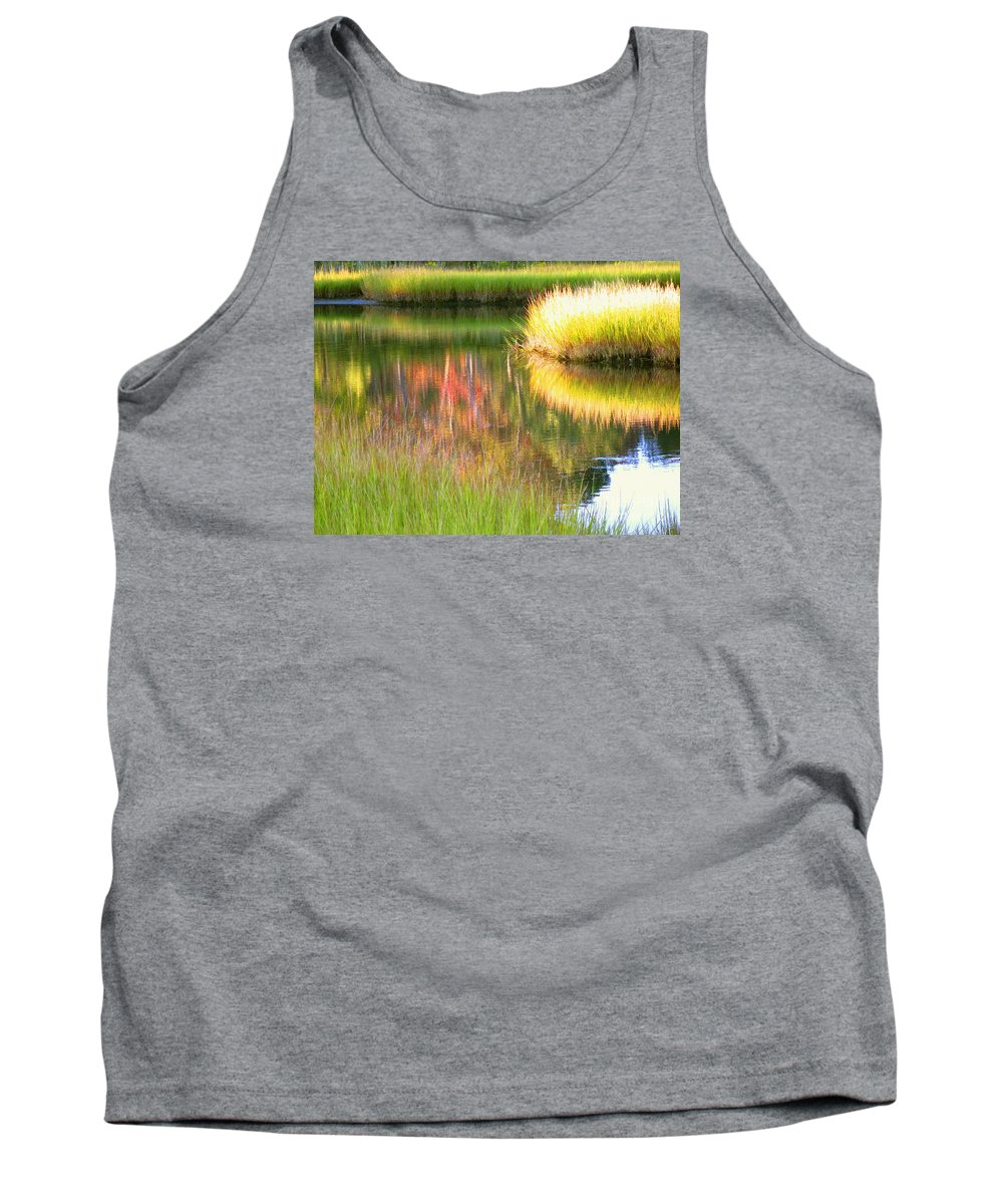 Abstract Tank Top featuring the photograph Stillness Of Late Summer Marsh by Sybil Staples