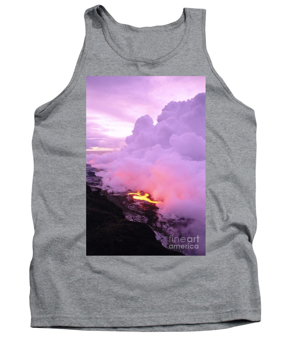 A'a Tank Top featuring the photograph Lava Enters Ocean by Peter French - Printscapes