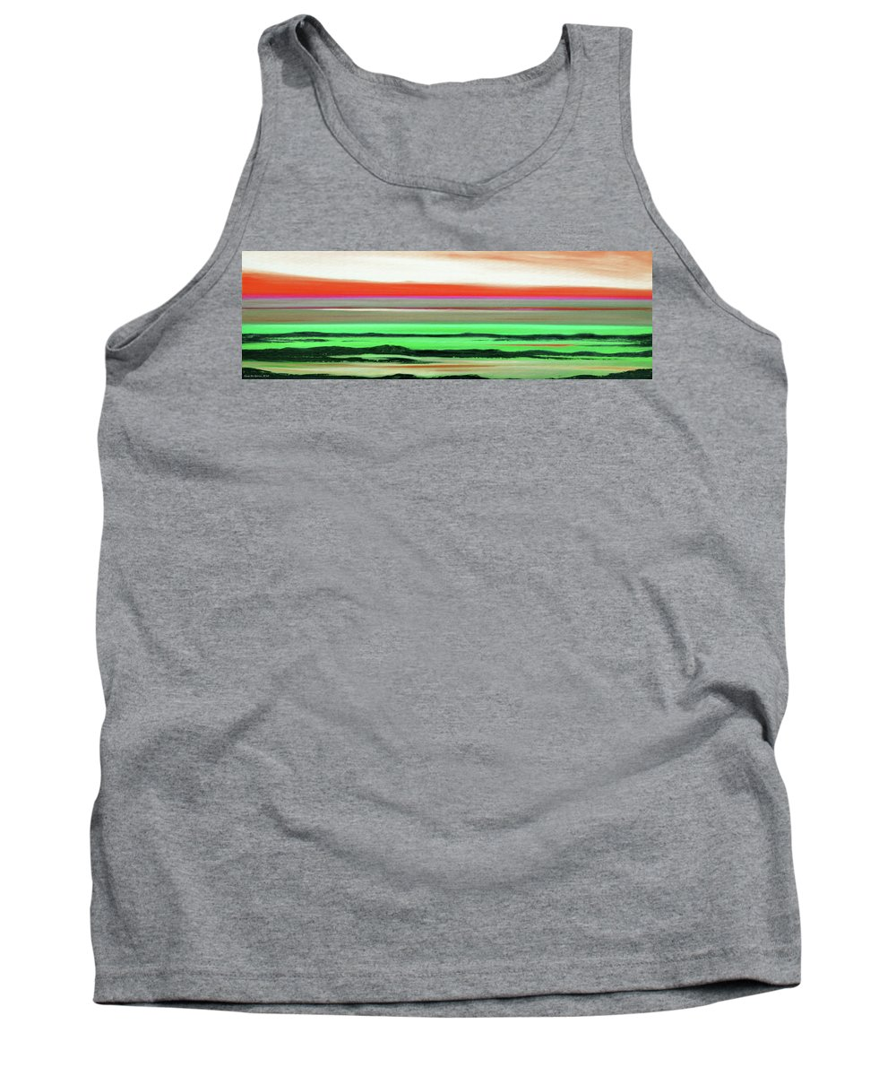 Sunset Tank Top featuring the painting Lava Rock Abstract Panoramic Sunset In Red And Green by Gina De Gorna