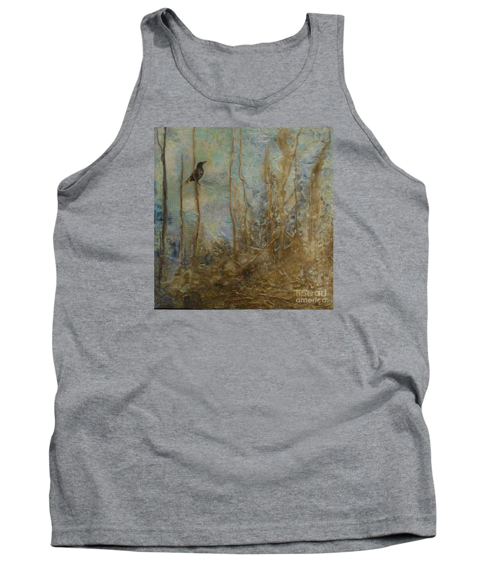 Bird Tank Top featuring the painting Lawbird by Heather Hennick