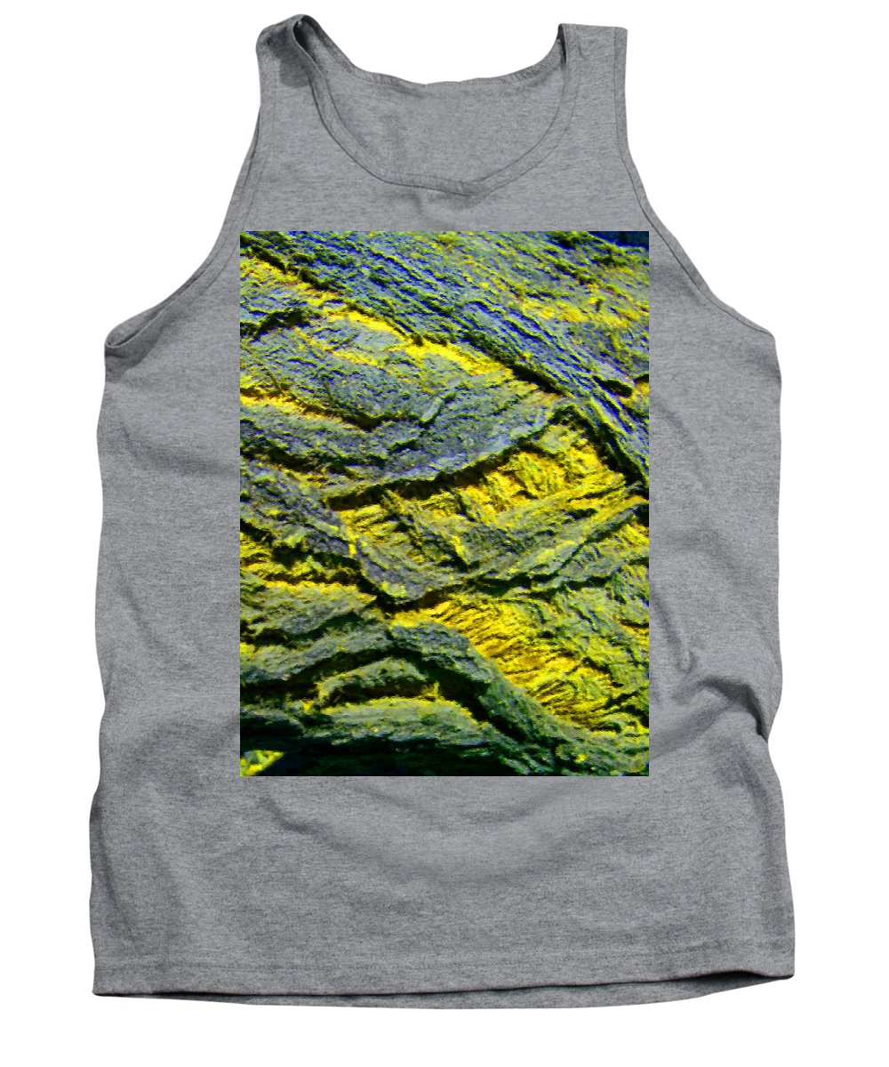 Abstract Tank Top featuring the photograph Layers In Blue And Yellow by Lenore Senior