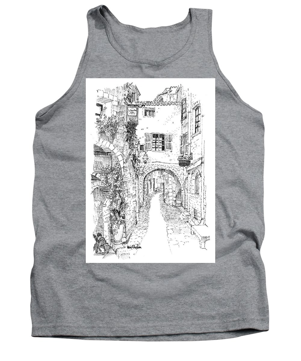 Architecture Tank Top featuring the drawing Le Pontis Saint-paul De Vence France by Ken Pieper