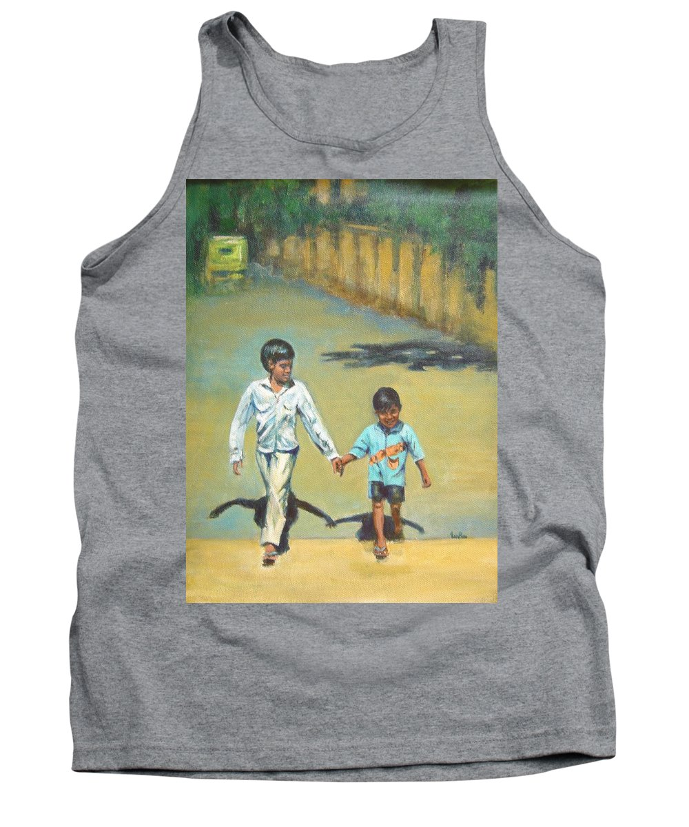 Lead Tank Top featuring the painting Lead Kindly Brother by Usha Shantharam