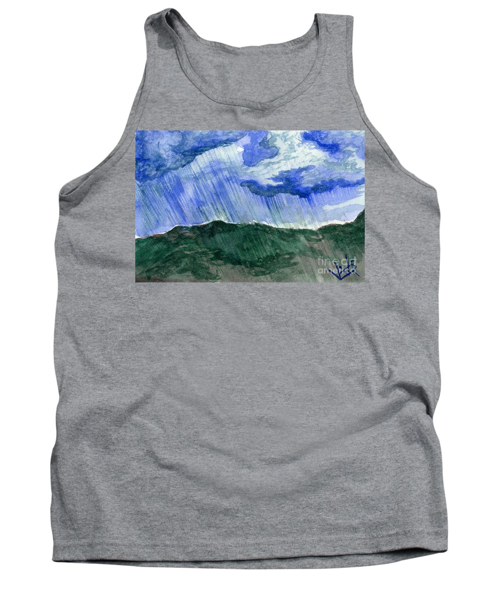 Landscape Tank Top featuring the painting Leaking Sky by Victor Vosen