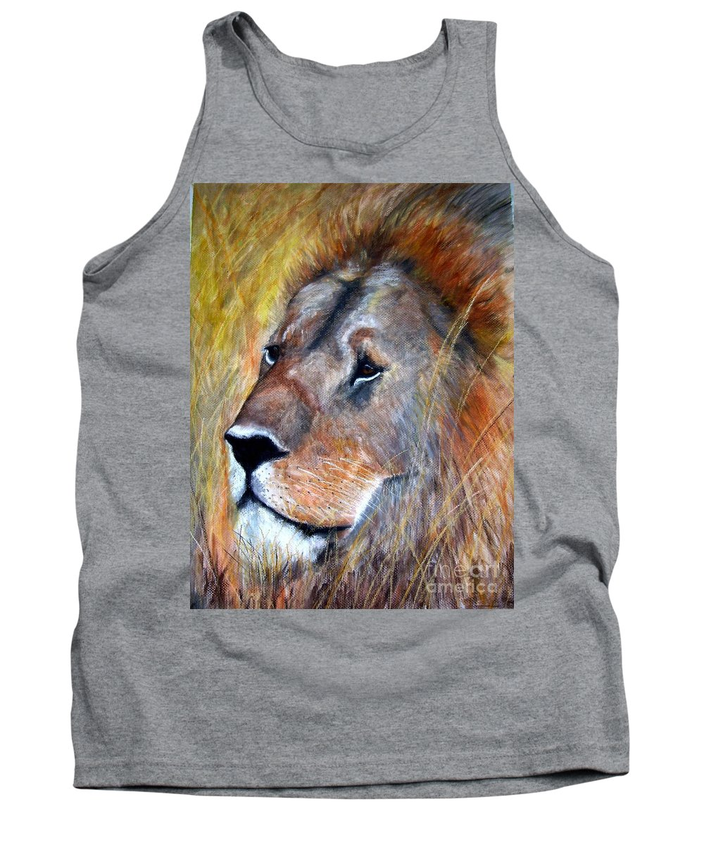 Lion Tank Top featuring the painting leo by Frances Marino
